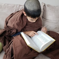 Reading the Bible is pretty standard for monks